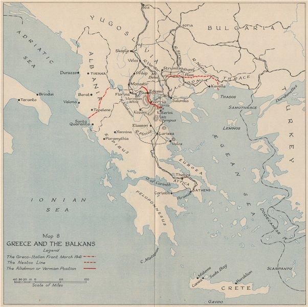 Associate Product OPERATION MARITA 1941. Greece and the Balkans. World War 2 1956 old map