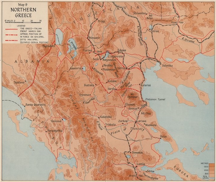 Associate Product OPERATION MARITA 1941. Northern Greece. World War 2 1956 old vintage map chart