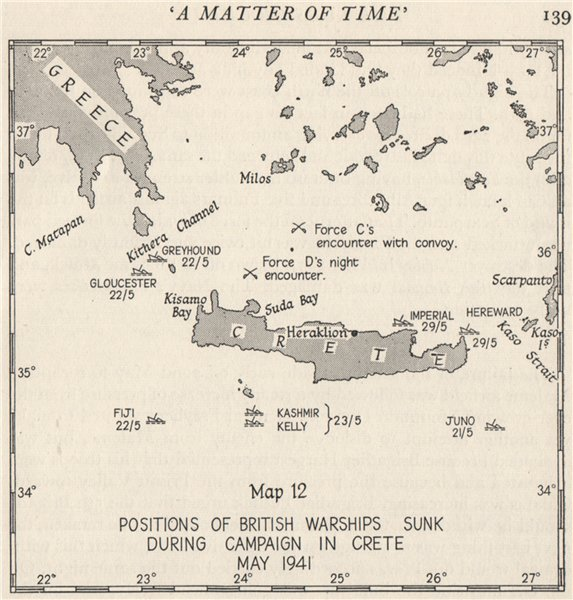 Associate Product BATTLE OF CRETE May 1941. British warships sunk during campaign. Greece 1956 map