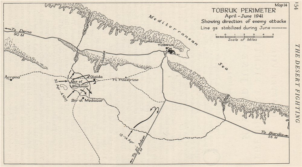 Associate Product NORTH AFRICAN CAMPAIGN. Tobruk perimeter April-June 1941. Axis attacks 1956 map