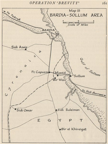 Associate Product WW2 NORTH AFRICAN CAMPAIGN 1941. Bardia-Sollum Area. Libya 1956 old map