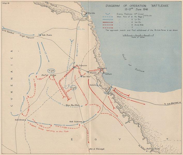 Associate Product WW2 NORTH AFRICAN CAMPAIGN. Operation Battleaxe 15-17 June 1941. Libya 1956 map