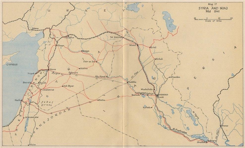 ANGLO-IRAQI WAR 1941. Syria and Iraq, mid 1941. World War 2 1956 old map