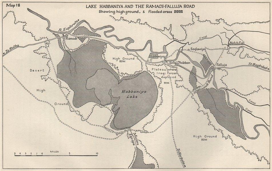 Associate Product ANGLO-IRAQI WAR 1941. Lake Habbaniya. Ramadi-Falluja road 1956 old vintage map