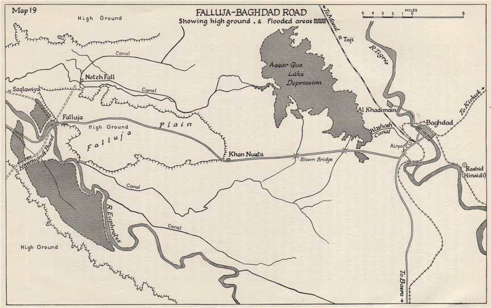 Associate Product ANGLO-IRAQI WAR 1941. Falluja-Baghdad road. High ground & flooded areas 1956 map