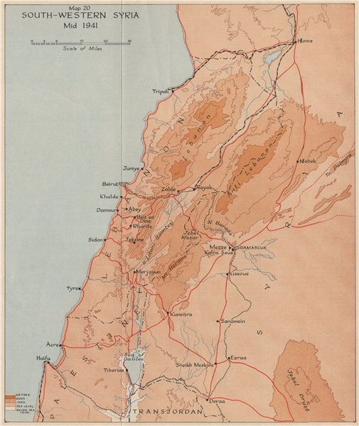 Associate Product OPERATION EXPORTER 1941. South-Western Syria, mid 1941. Word War 2 1956 map