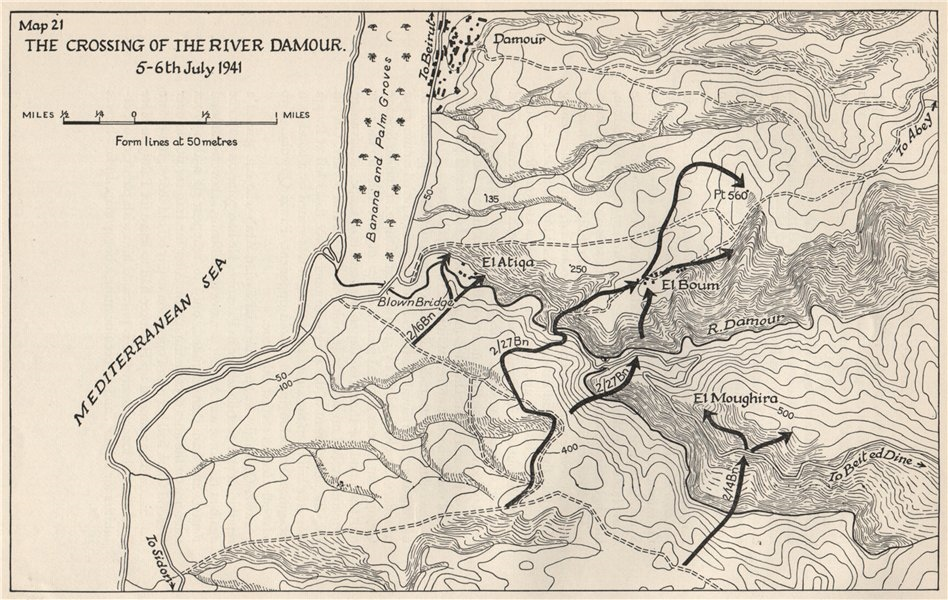 Associate Product OPERATION EXPORTER 1941. River Damour crossing. 5-6 July. Syria/Lebanon 1956 map