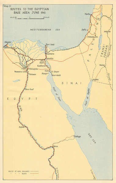 Associate Product WW2 NORTH AFRICAN CAMPAIGN. Routes to the Egyptian Base Area, June 1941 1956 map