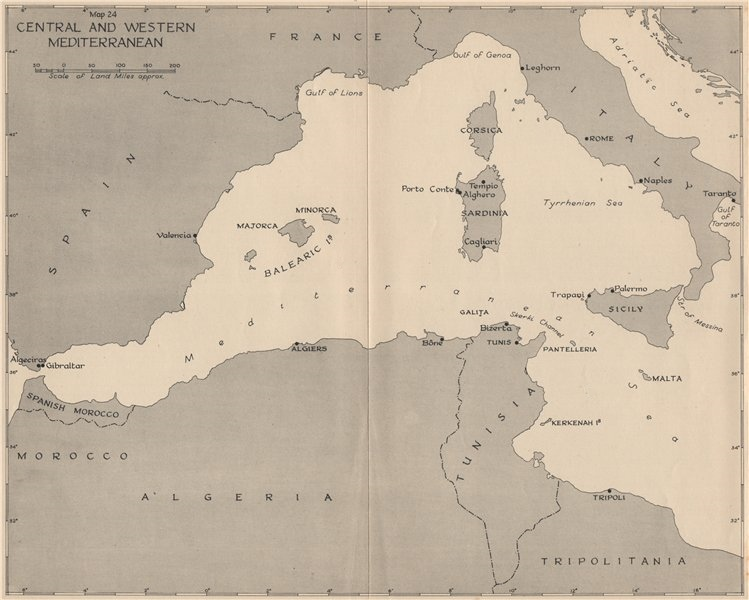 Associate Product WW2 NORTH AFRICAN CAMPAIGN 1941. Central and Western Mediterranean 1956 map
