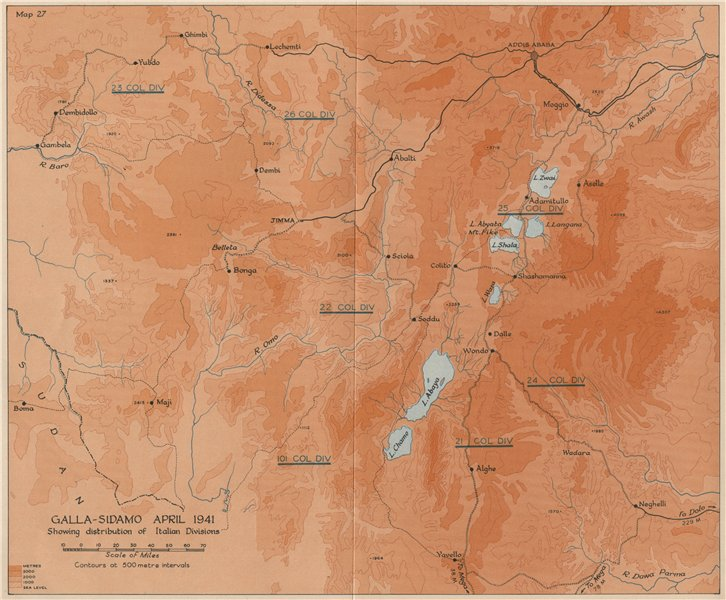 Associate Product EAST AFRICAN CAMPAIGN 1941. Galla-Sidamo Italian divisions. Ethiopia 1956 map