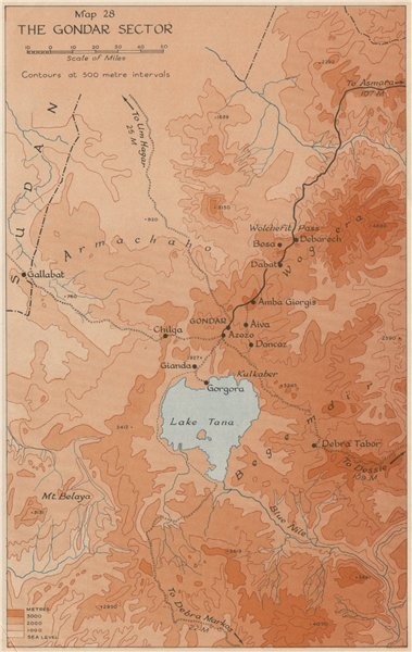 Associate Product EAST AFRICAN CAMPAIGN 1941. The Gondar sector. Ethiopia.World War 2 1956 map