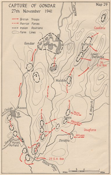Associate Product WW2 EAST AFRICAN CAMPAIGN. Capture of Gondar 27 November 1941. Ethiopia 1956 map