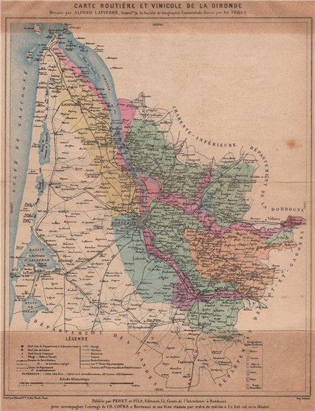 Associate Product Carte Routière et Vinicole de la Gironde. Bordeaux wine. COCKS & FERET 1908 map