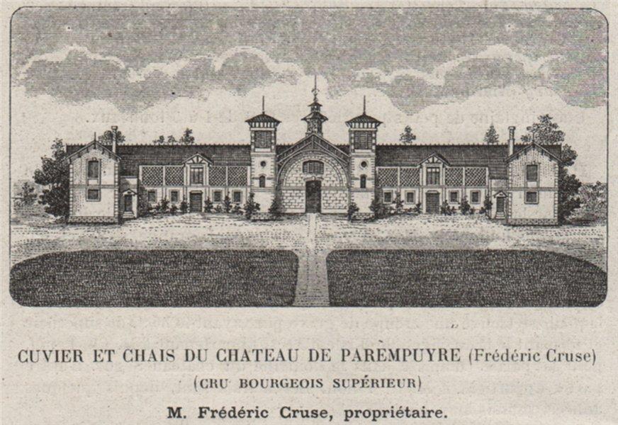 Associate Product MÉDOC. PAREMPUYRE. Chateau de Parempuyre. Cru Bourgeois Supérieur. SMALL 1908