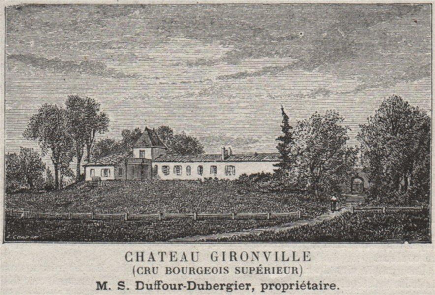 Associate Product MÉDOC. MACAU. Chateau Gironville (Cru Bourgeois Supérieur). SMALL 1908 print