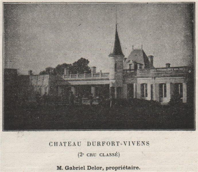 Associate Product MÉDOC. MARGAUX. Chateau Durfort-Vivens (2e Cru Classé). Delor. SMALL 1908