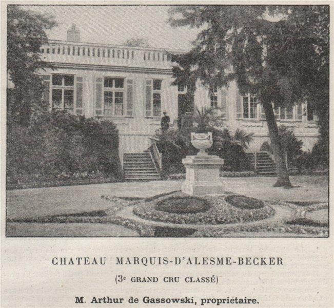 MÉDOC. MARGAUX. Chateau Marquis d'Alesme-Becker. 3e Grand Cru Classé. SMALL 1908