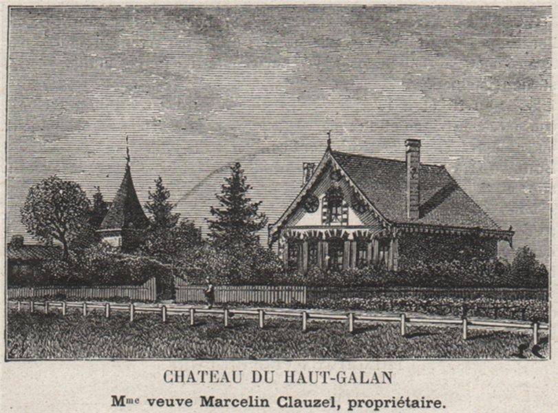 Associate Product MÉDOC. AVENSAN. Chateau du Haut-Galan. Clauzel. Bordeaux. SMALL 1908 old print