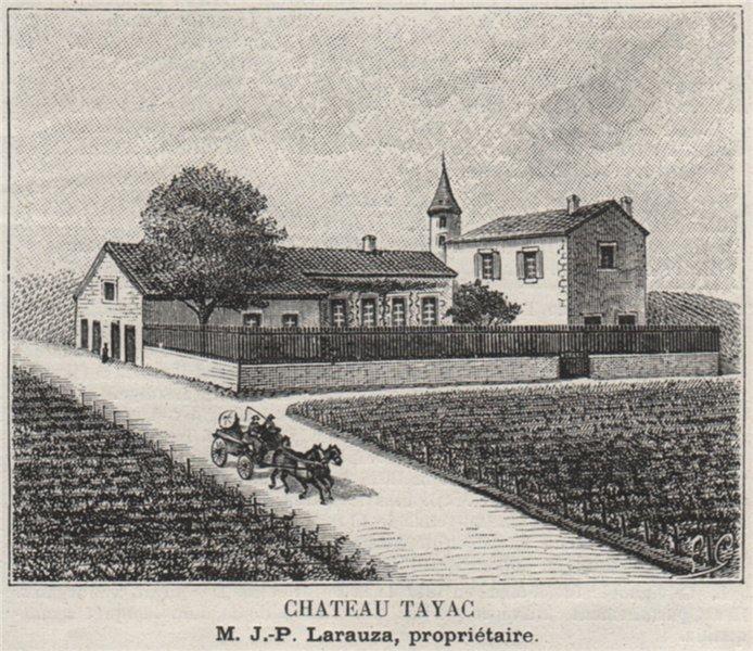 Associate Product MÉDOC. SOUSSANS. Chateau Tayac. Larauza. Bordeaux. SMALL 1908 old print