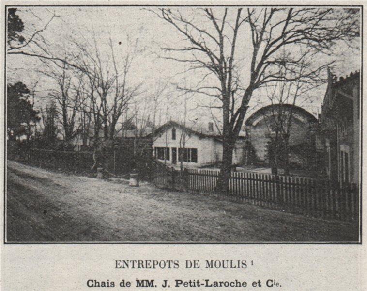 Associate Product MÉDOC. MOULIS. Entrepots de Moulis. Petit-Laroche. Bordeaux. SMALL 1908 print