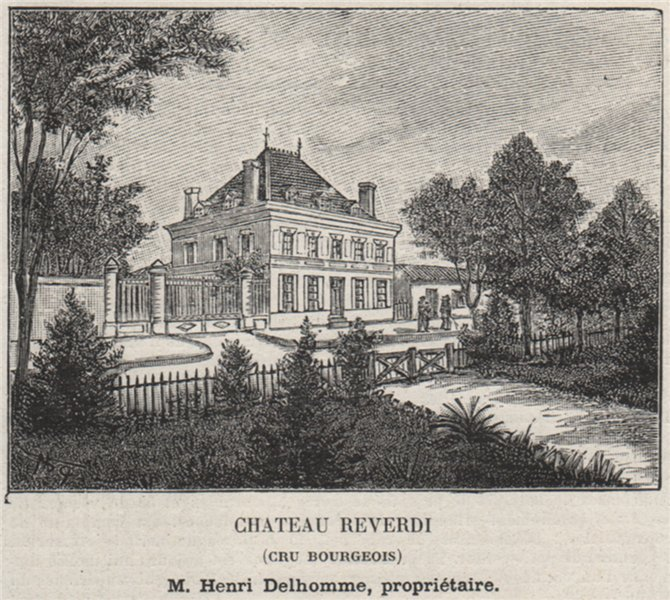 MÉDOC. LAMARQUE. Chateau Reverdi (Cru Bourgeois). Delhomme. SMALL 1908 print