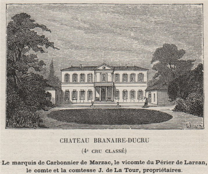 Associate Product MÉDOC. SAINT-JULIEN. Chateau Branaire-Ducru (4e Cru Classé). SMALL 1908 print