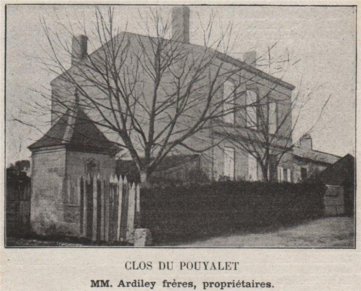Associate Product MÉDOC. PAUILLAC. Clos du Pouyalet. Ardiley. Bordeaux. SMALL 1908 old print