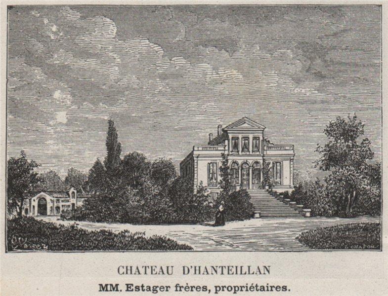 Associate Product MÉDOC. CISSAC. Chateau d'Hanteillan. Estager. Bordeaux. SMALL 1908 old print