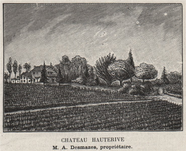 Associate Product MÉDOC. SAINT-GERMAIN-D'ESTEUIL. Chateau Hauterive. Desmazes. SMALL 1908 print