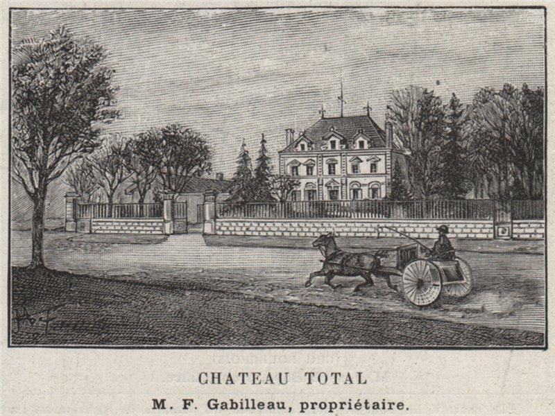 Associate Product MÉDOC. COUQUÈQUES. Chateau Total. Gabilleau. Bordeaux. SMALL 1908 old print