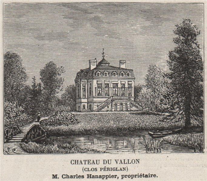 Associate Product GRAVES. PESSAC. Chateau du Vallon (Clos Périglan). Hanappier. SMALL 1908 print