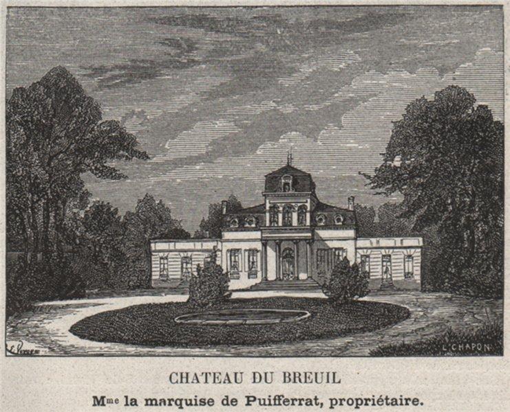 Associate Product GRAVES. TALENCE. Chateau du Breuil. Puifferrat. Bordeaux. SMALL 1908 old print