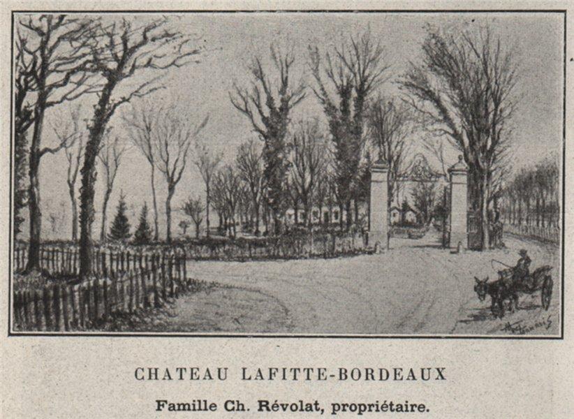 Associate Product GRAVES. TALENCE. Chateau Lafitte-Bordeaux. Révolat. SMALL 1908 old print