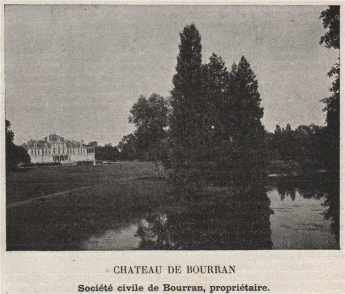 Associate Product GRAVES. MÉRIGNAC. Chateau de Bourran. Bourran. Bordeaux. SMALL 1908 old print