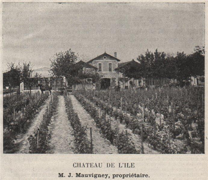 GRAVES. CAUDÉRAN ET LE BOUSCAT. Chateau de l'Ile. Mauvigney. SMALL 1908 print