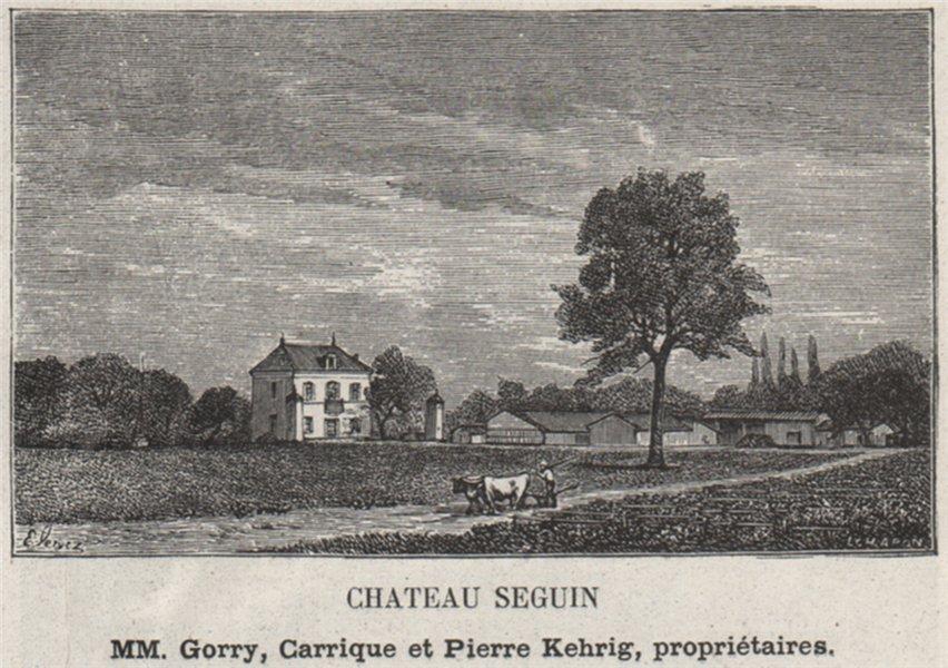GRAVES. CANÉJAN, CESTAS. Chateau Sguin. Kehrigs. Bordeaux. SMALL 1908 print