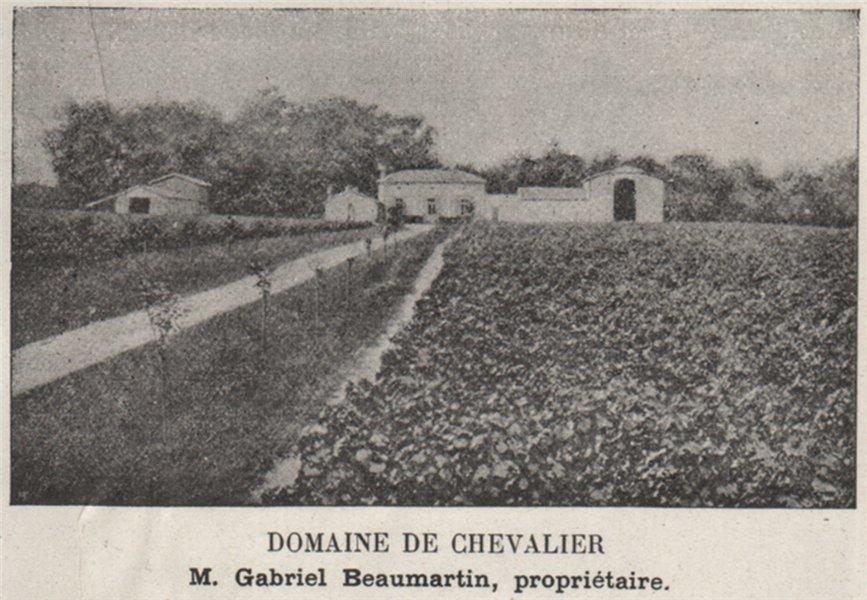 Associate Product GRAVES. LÉOGNAN. Domaine de Chevalier. Beaumartin. Bordeaux. SMALL 1908 print