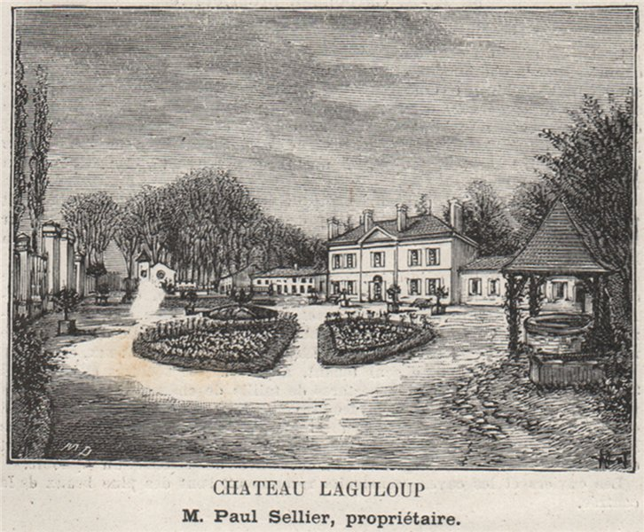 Associate Product GRAVES. LÉOGNAN. Chateau Laguloup. Sellier. Bordeaux. SMALL 1908 old print