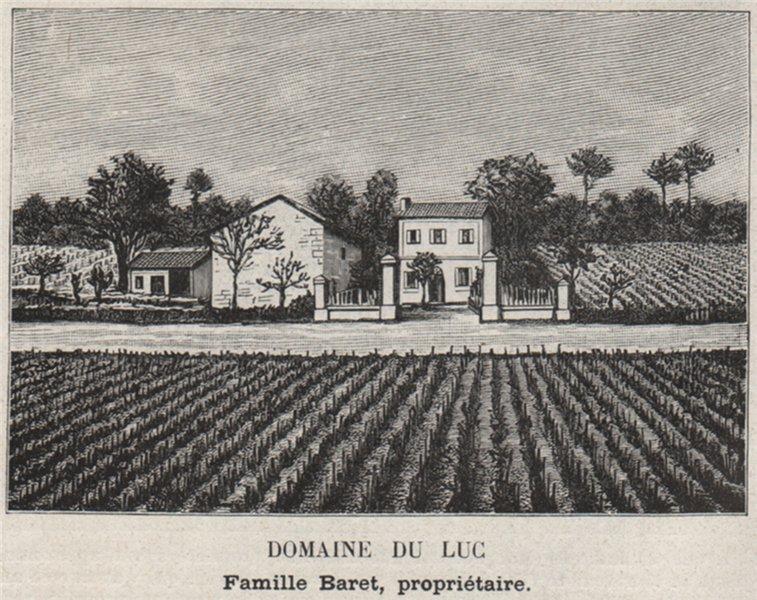 Associate Product GRAVES. LÉOGNAN. Domaine du Luc. Baret. Bordeaux. SMALL 1908 old antique print