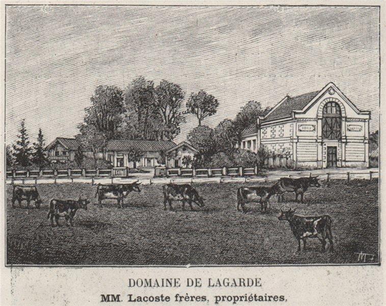 Associate Product GRAVES. MARTILLAC. Domaine de Lagarde. Lacoste. Bordeaux. SMALL 1908 old print