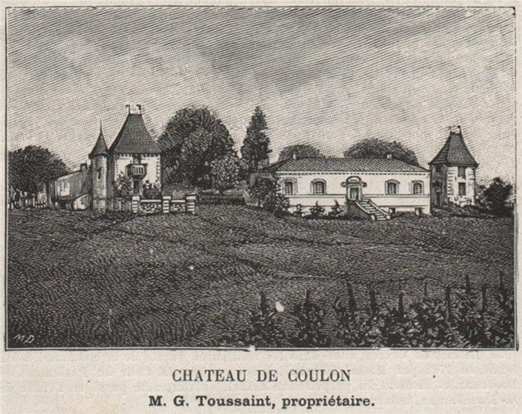 Associate Product GRAVES. BÉGLES. Chateau de Coulon. Toussaint. Bordeaux. SMALL 1908 old print