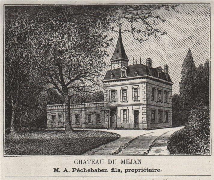 Associate Product GRAVES. ST-MÉDARD-D'EYRANS, AYGUEMORTE. Chateau du Mejan. Péchebaben. SMALL 1908