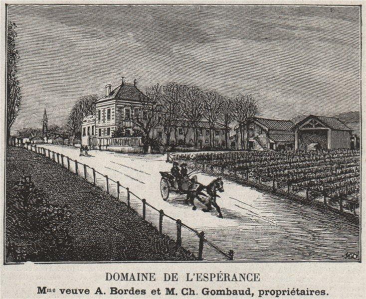 Associate Product GRAVES. LA BRÈDE. Domaine de l'Espérance. Gombauds. Bordeaux. SMALL 1908 print