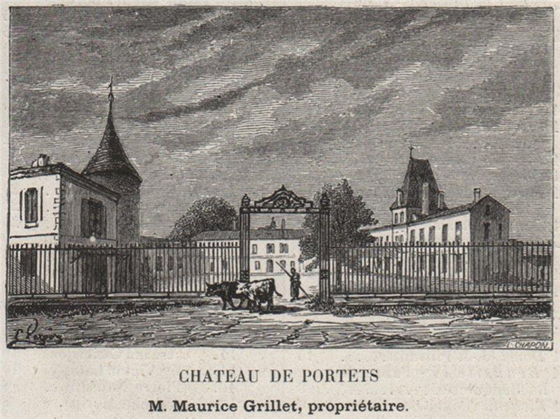 Associate Product GRAVES. PORTETS. Chateau de Portets. Grillet. Bordeaux. SMALL 1908 old print