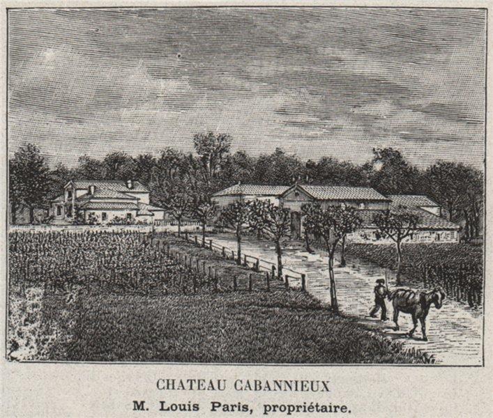 Associate Product GRAVES. PORTETS. Chateau Cabannieux. Paris. Bordeaux. SMALL 1908 old print