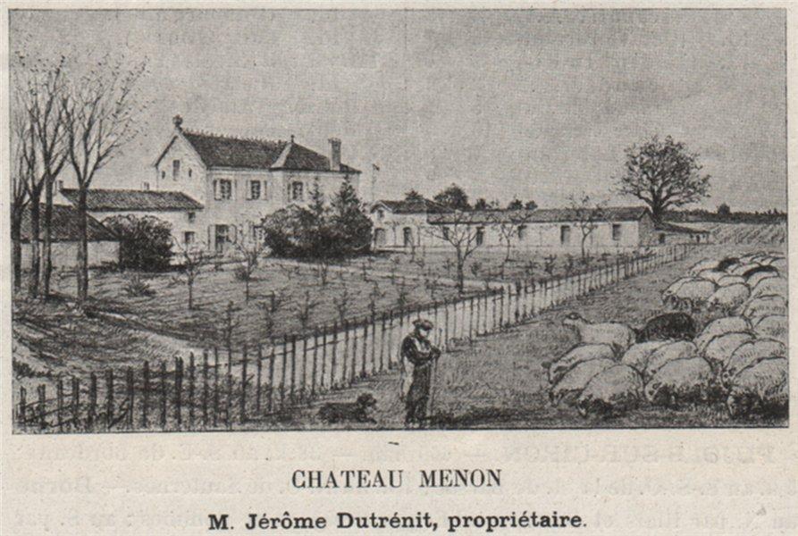 Associate Product GRAVES. LANDIRAS. Chateau Menon. Dutrénit. Bordeaux. SMALL 1908 old print