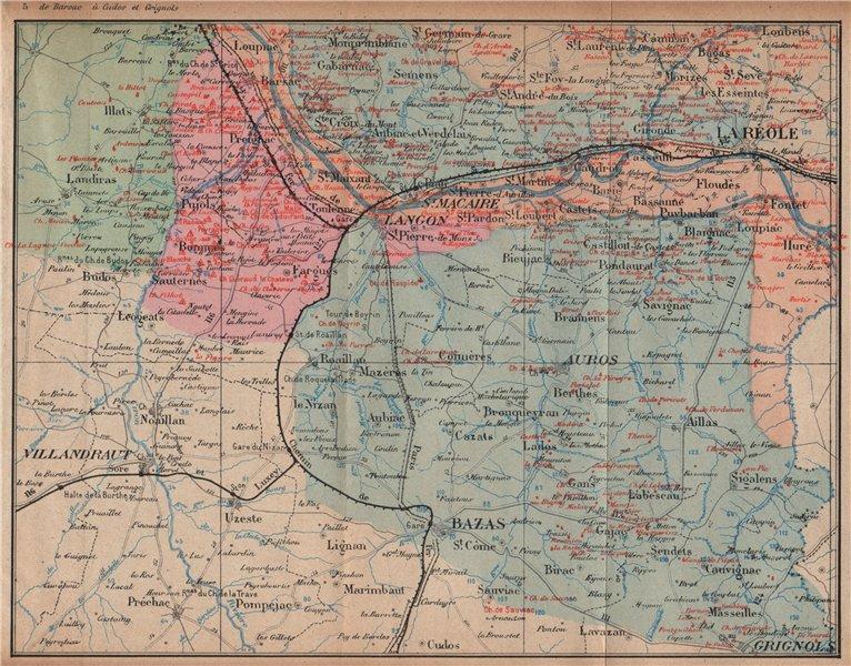 Associate Product BORDEAUX WINE MAP. La Réole. Graves Entre-deux-Mers chateaux. COCKS & FERET 1908