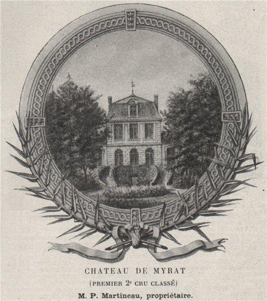 Associate Product GRANDS VINS BLANCS. BARSAC. Chateau de Myrat (Premier 2e Cru Classé). SMALL 1908