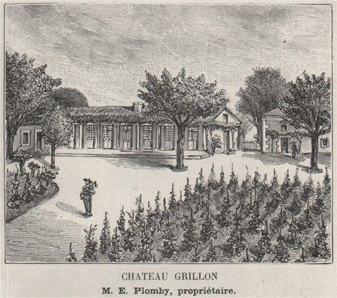 GRANDS VINS BLANCS. BARSAC. Chateau Grillon. Plomby. Bordeaux. SMALL 1908
