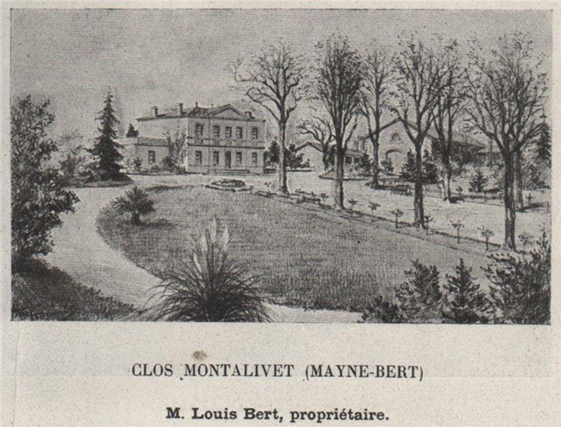 Associate Product GRANDS VINS BLANCS. BARSAC. Glos Montalivet (Mayne-Bert). Bert. SMALL 1908